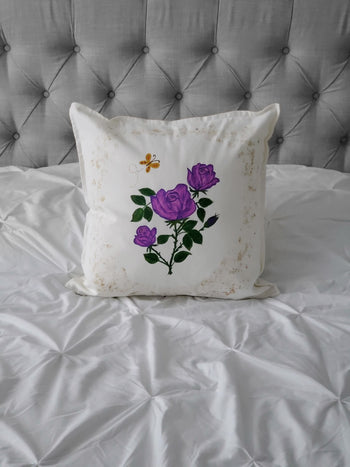 Roses Hand Painted Throw Pillow 20