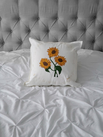 Sunflowers Hand Painted Throw Pillow 20