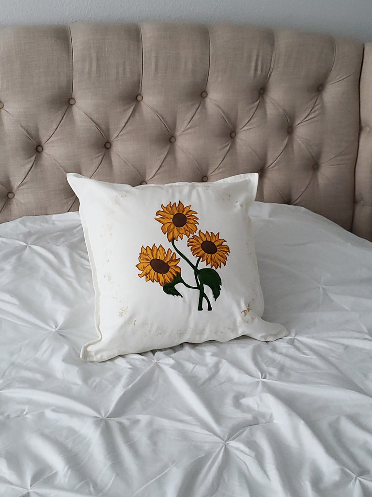 "Sunflowers Hand Painted Throw Pillow 20"" x 20"" - Designs By Daysi"