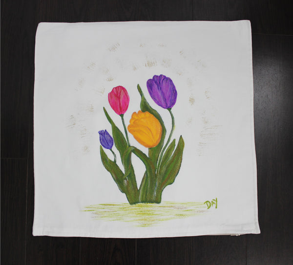 "Tulips Hand Painted Throw Pillow 20"" x 20"" - Designs By Daysi"