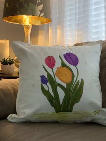 Tulips Hand Painted Throw Pillow 20