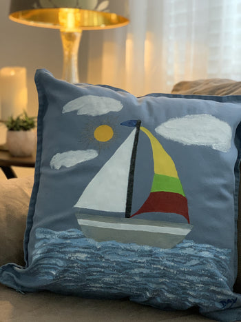 Sailboat Hand Painted Throw Pillow 20