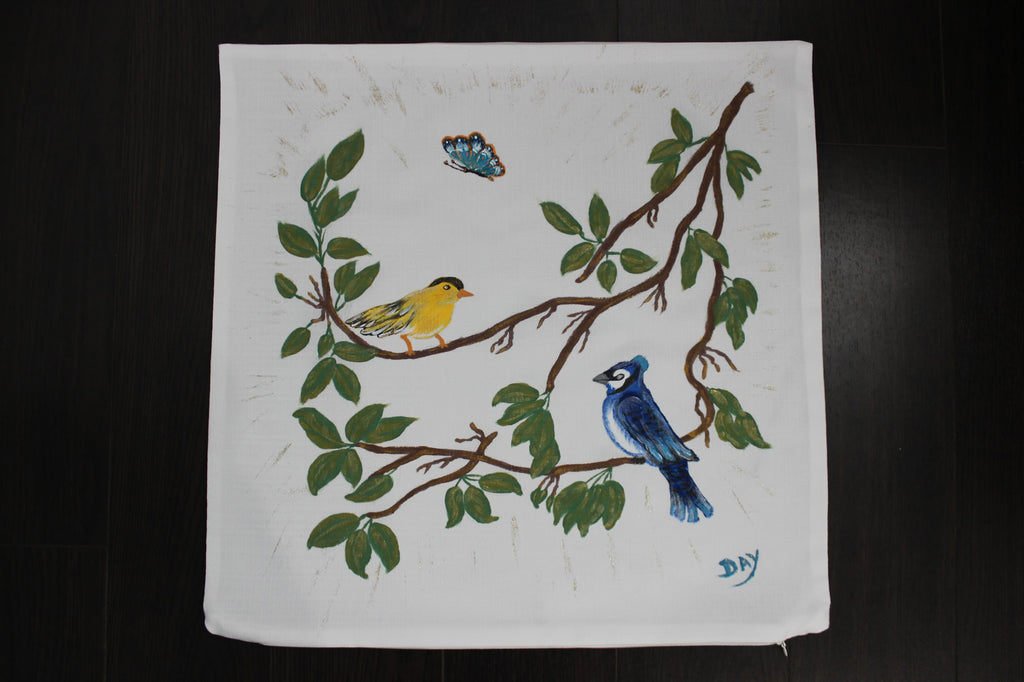 "Blue & Yellow Birds Hand-Painted Throw Pillow 20"" x 20"" - Designs By Daysi"