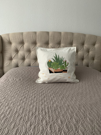 Succulents Hand Painted Throw Pillow 20