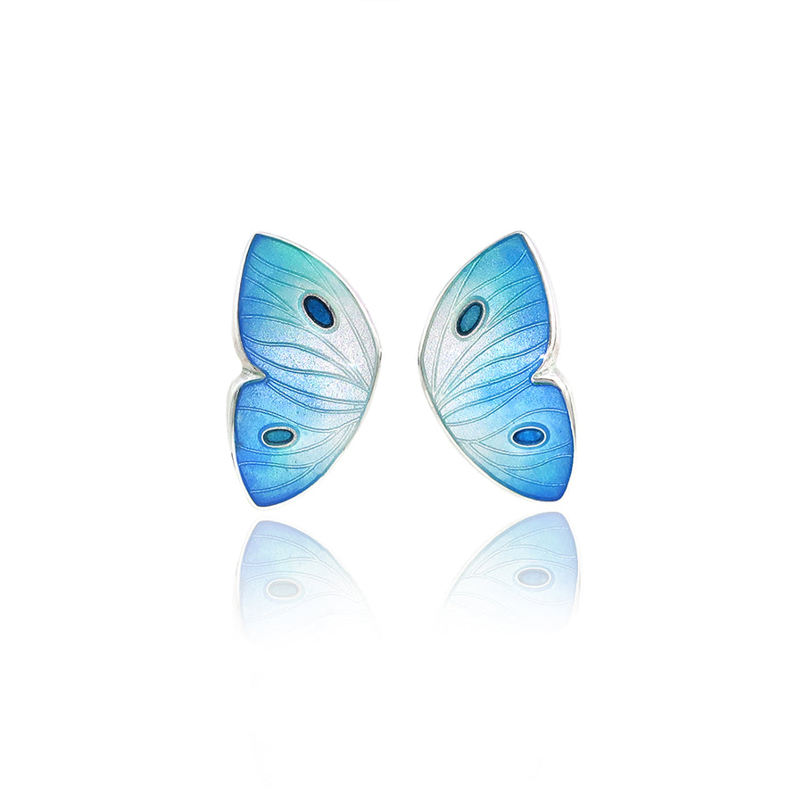 Enamelled Butterfly Blue Earrings