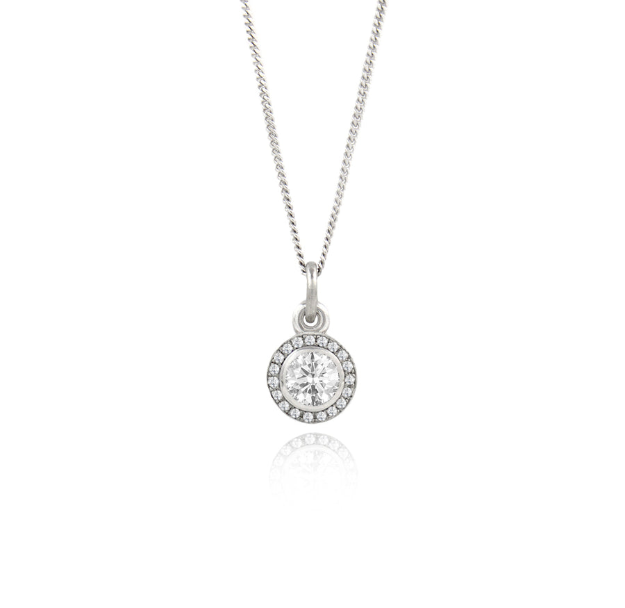 Diamond Halo Eclipse Platinum Pendant