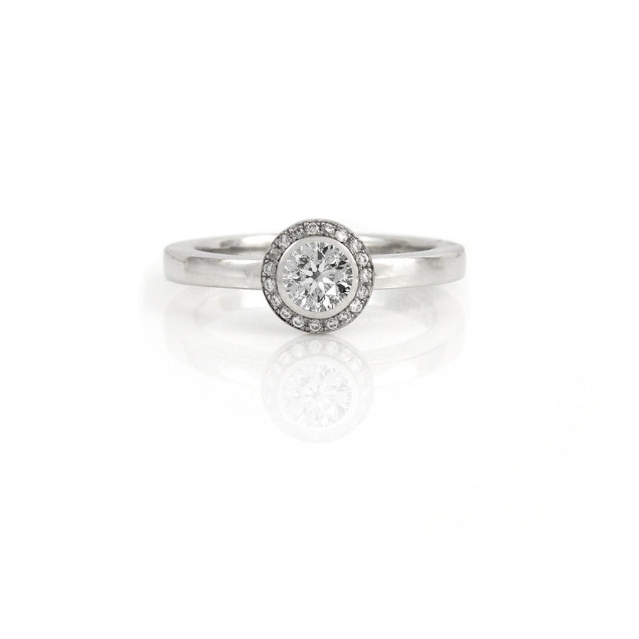 Diamond Halo Eclipse Platinum Ring