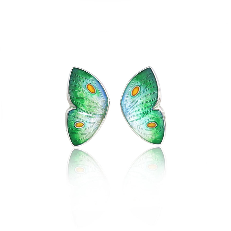 Enamelled Butterfly Green Earrings