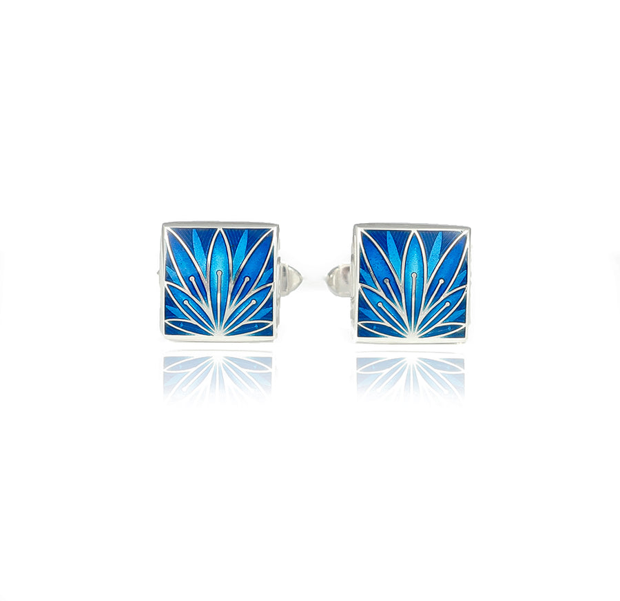 Enamelled Lotus Flower Silver Kingfisher Cufflinks