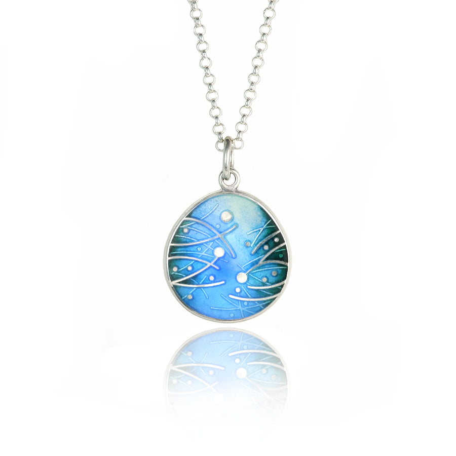 Meadow Enamelled Sky Blue Pendant