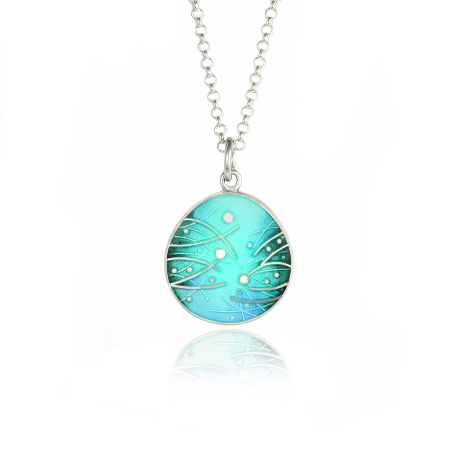 Meadow Enamelled Mint & Teal Pendant