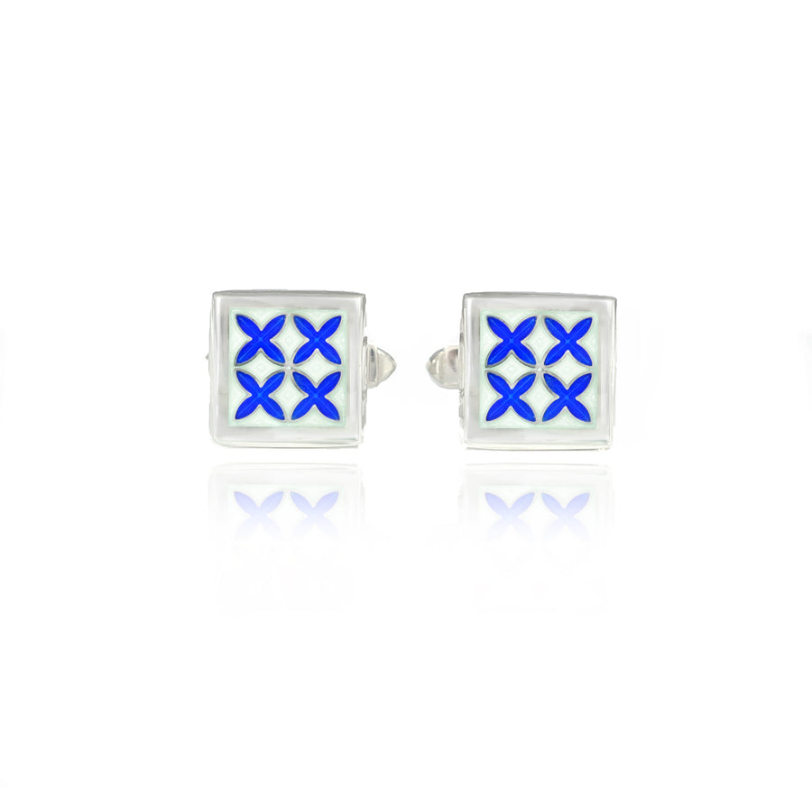 Enamelled Moroccan Tile White & Blue Cufflinks