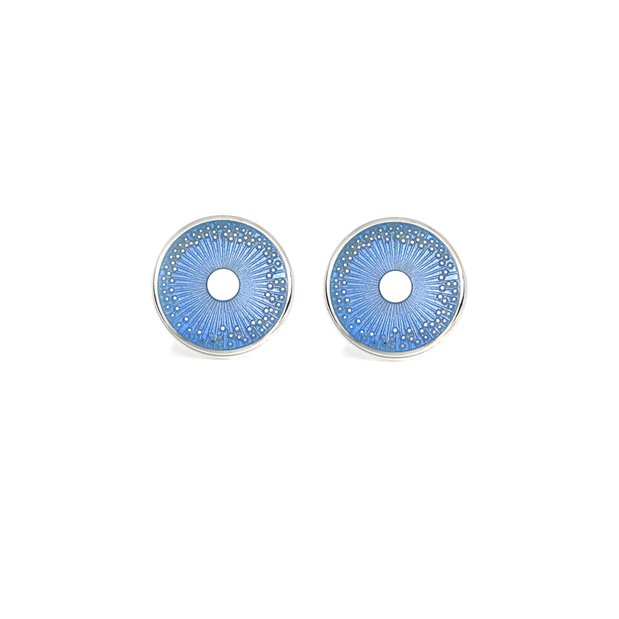 Enamelled Silver Pale Blue Diatom Cufflinks