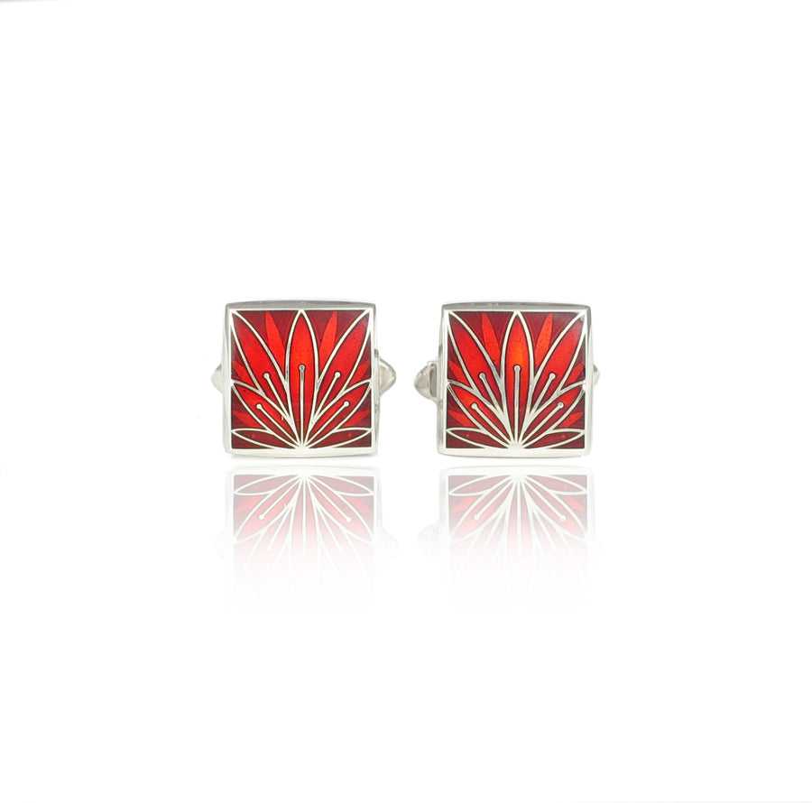 Enamelled Lotus Flower Silver Red Cufflinks