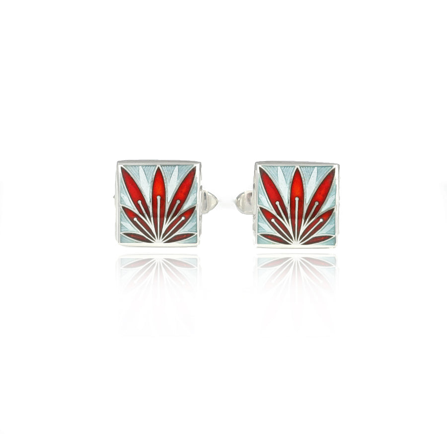 Enamelled Lotus Flower Red & Grey Cufflinks