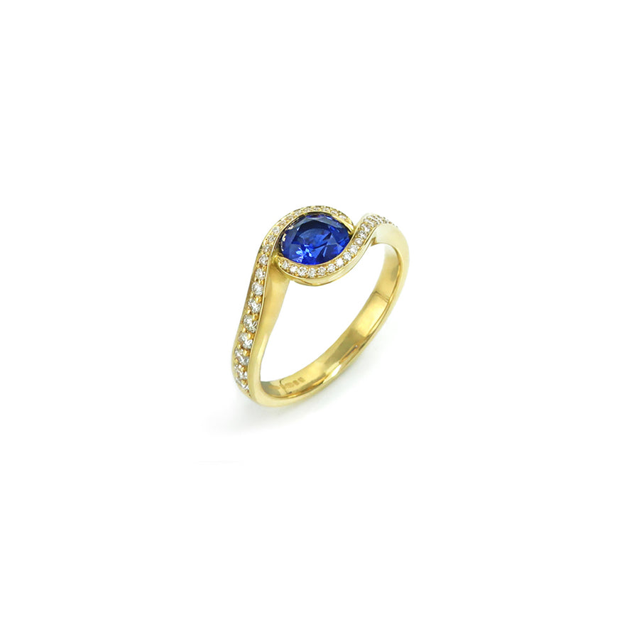 Sapphire & Diamond Luna 18ct Yellow Gold Ring