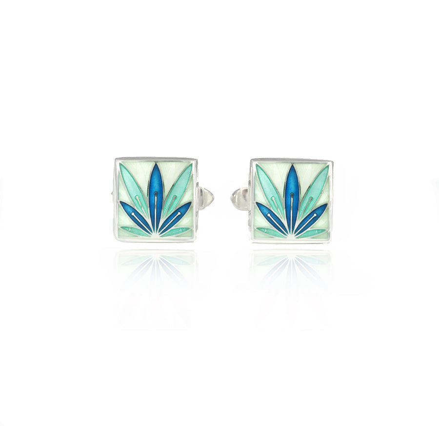 Enamelled Lotus Flower Mint & Blue Cufflinks