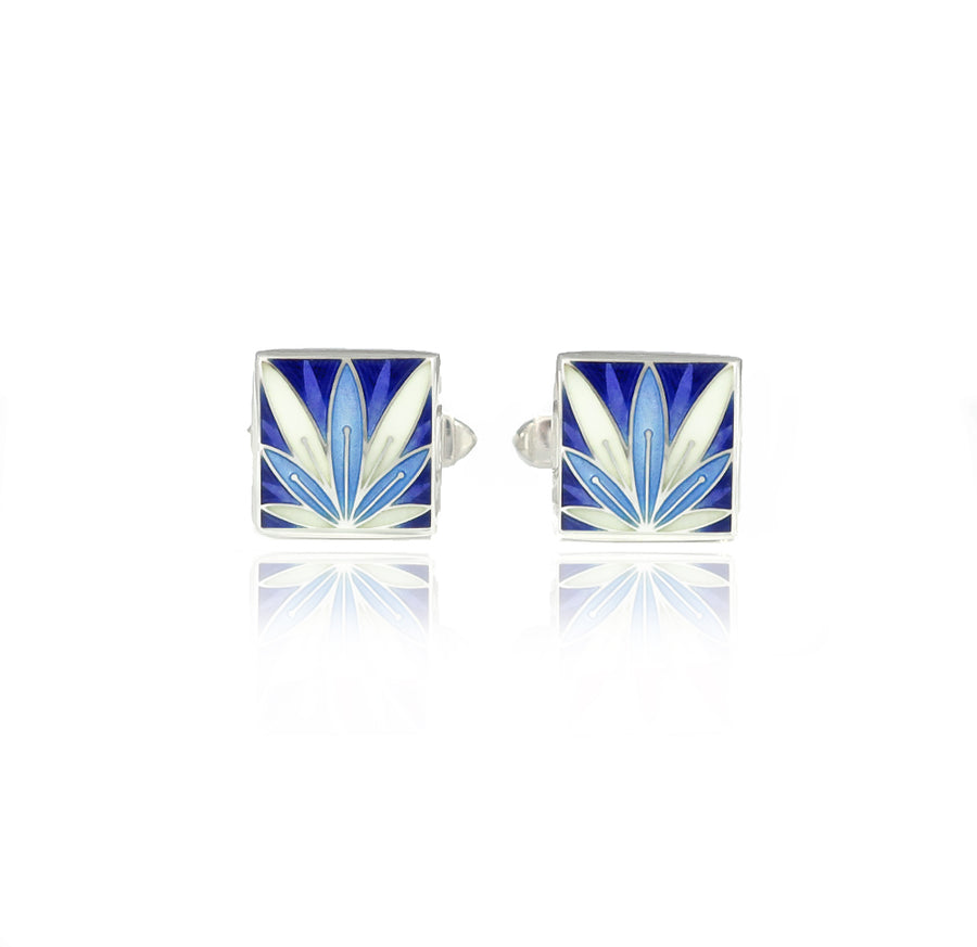 Enamelled Lotus Flower Blue & Purple Cufflinks