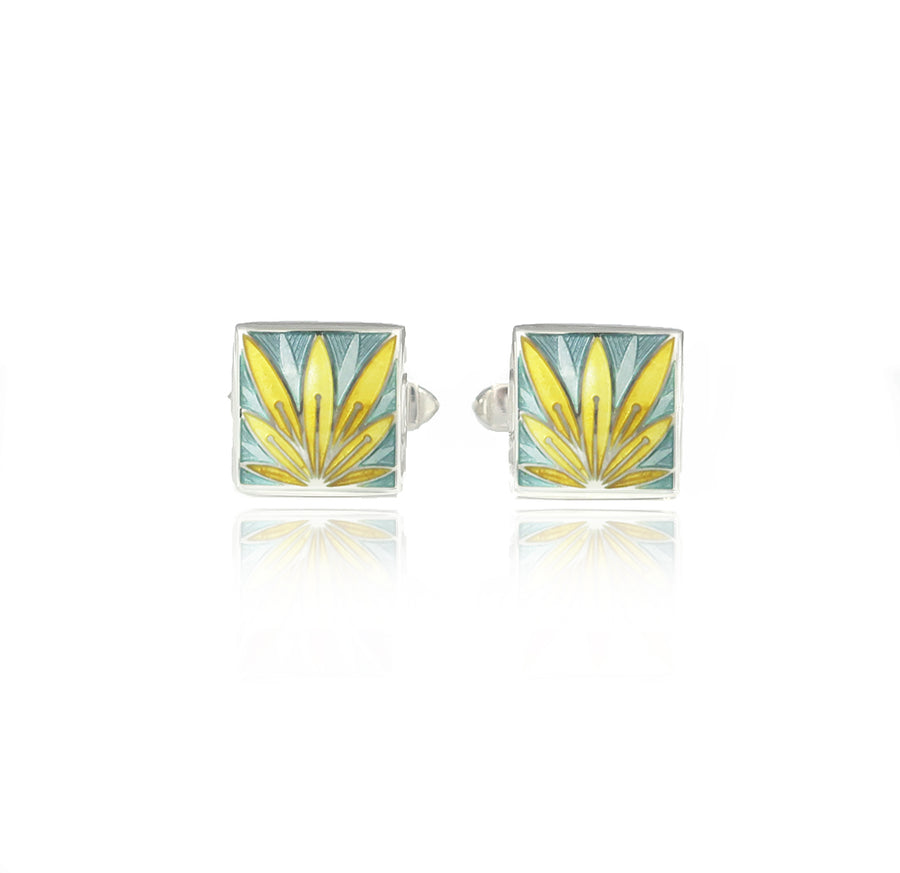 Enamelled Lotus Flower Yellow & Grey Cufflinks