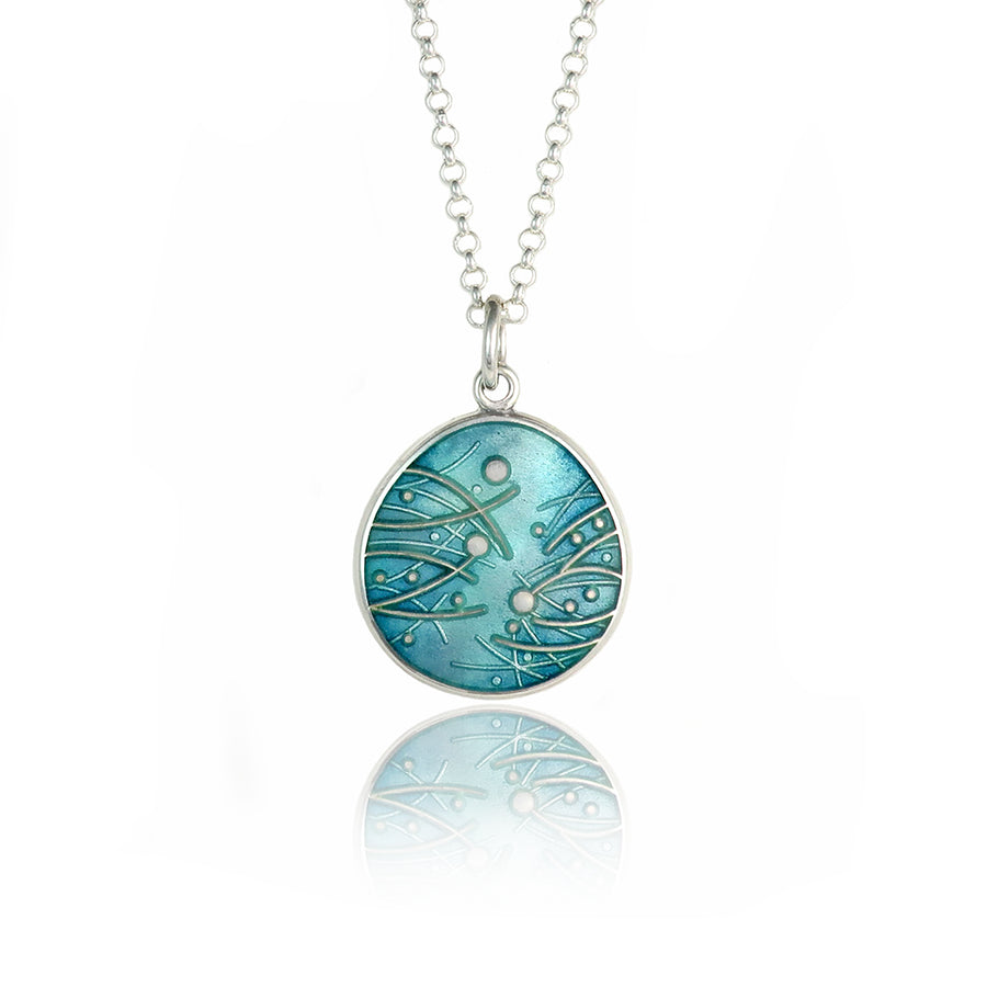 Meadow Enamelled Teal Pendant