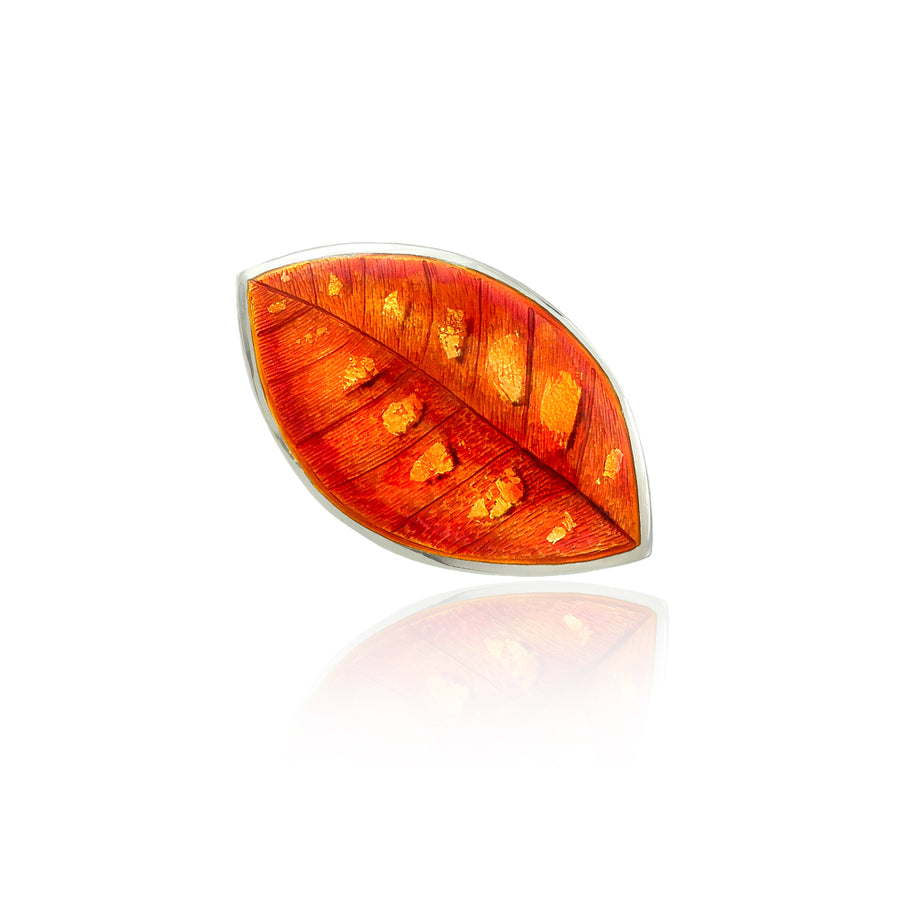 Autumn Gold Enamelled Leaf Brooch