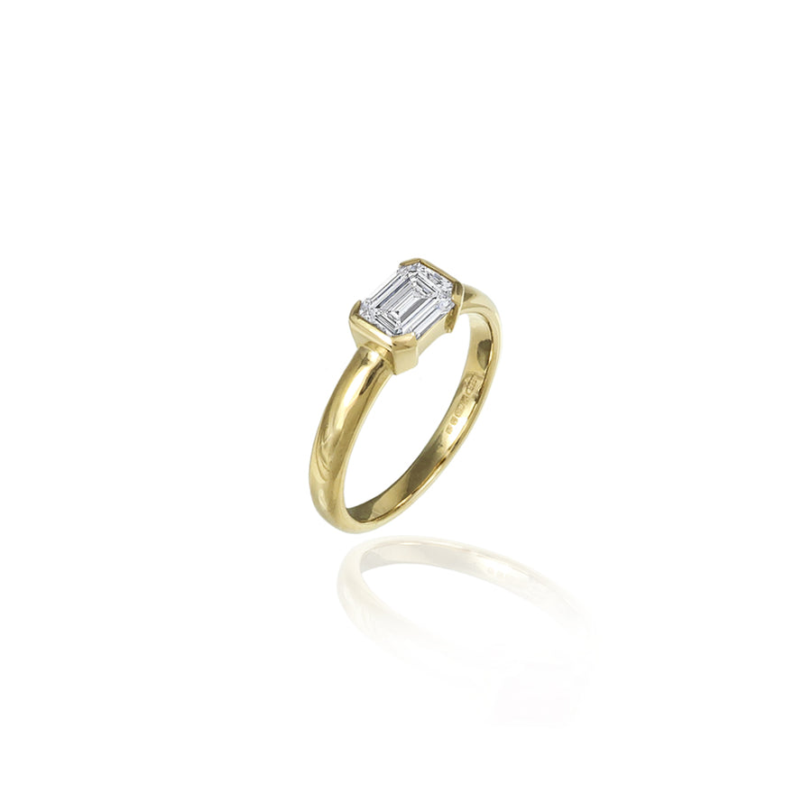 Emerald Cut Diamond & Gold Ring
