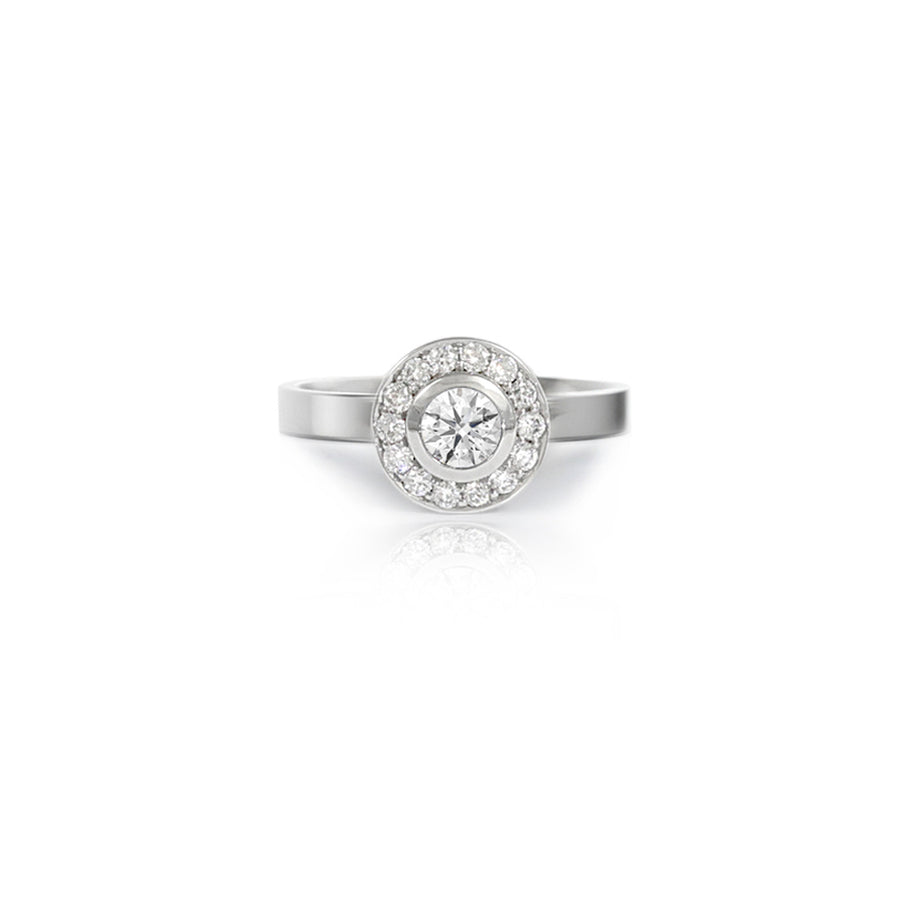 Diamond Halo Platinum Ring