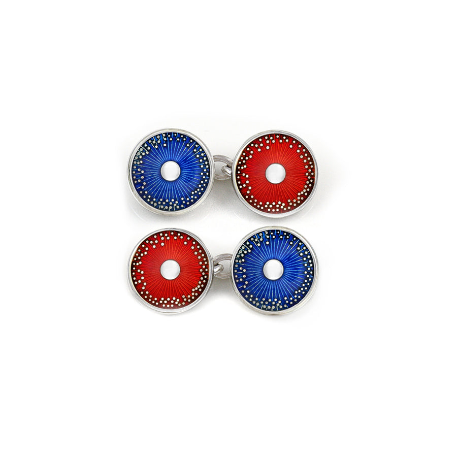 Enamelled Silver Red & Ink Blue Diatom Double Chain Cufflinks