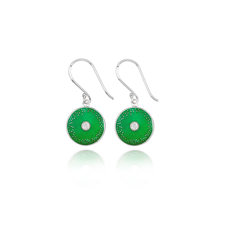 Green Diamond Enamel Mini Diatom Earrings