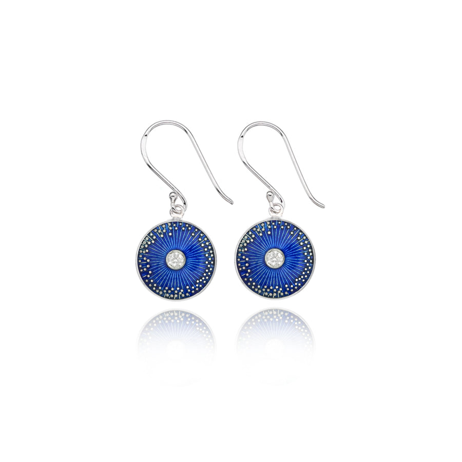 Ink Blue Enamel Diamond Mini Diatom Earrings