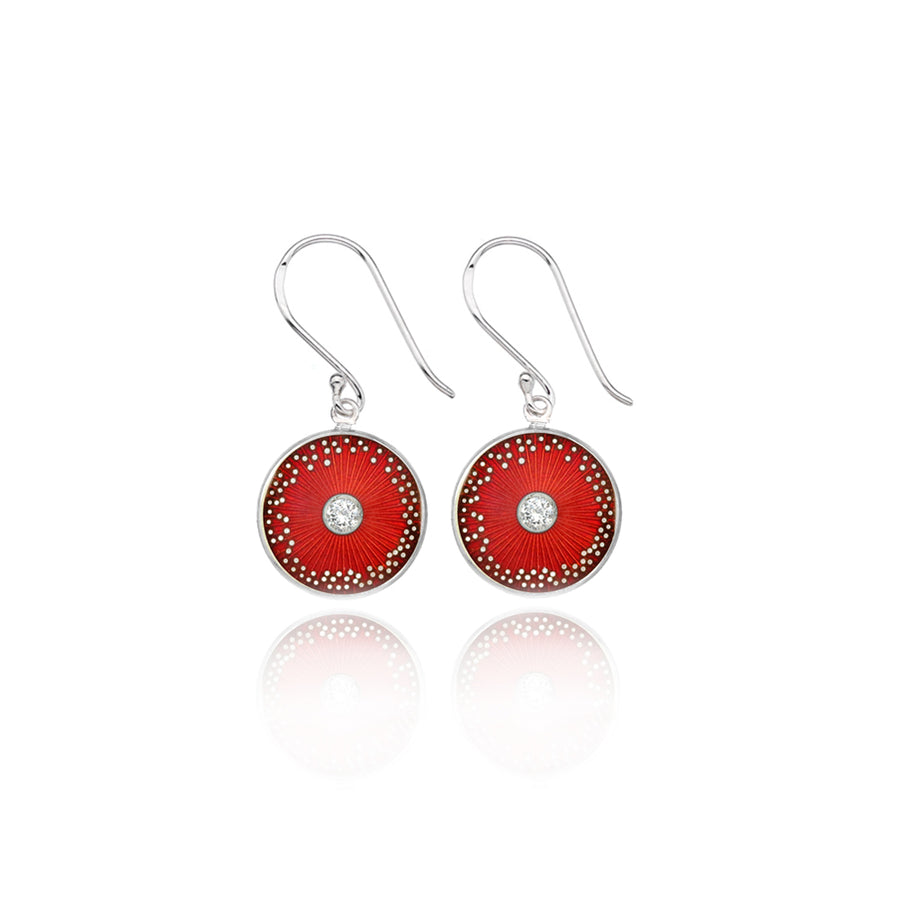 Red Diamond Enamel Diatom Earrings