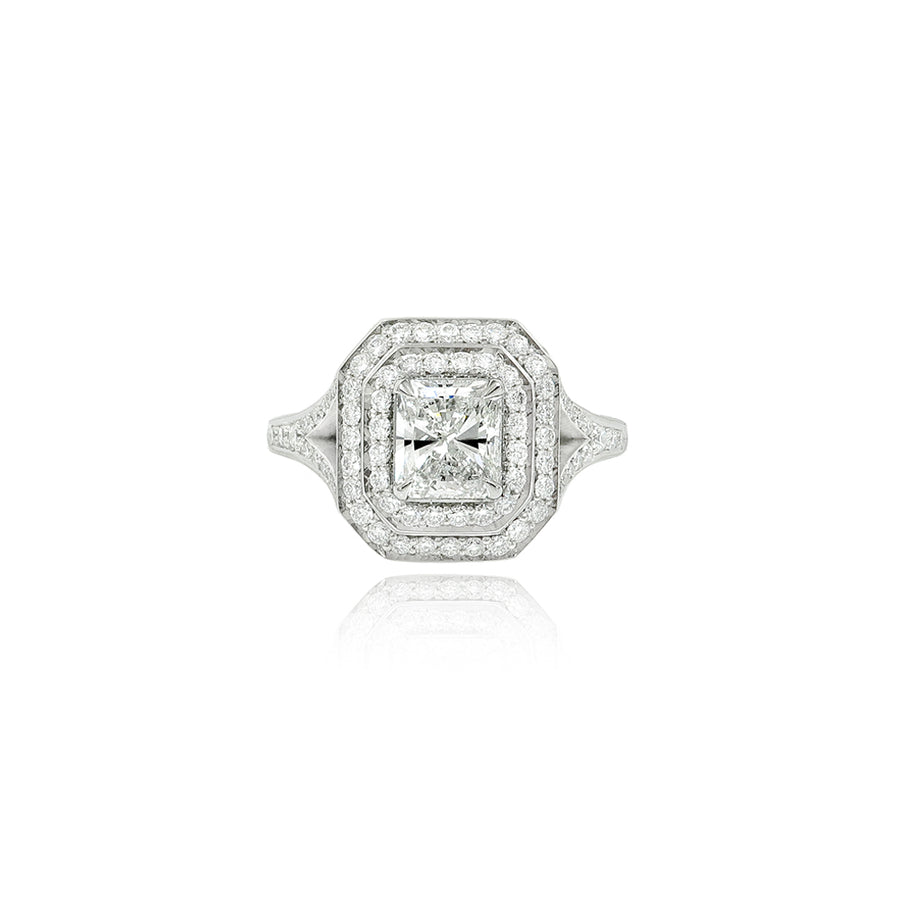 Double Radiant Cut Diamond Platinum Ring