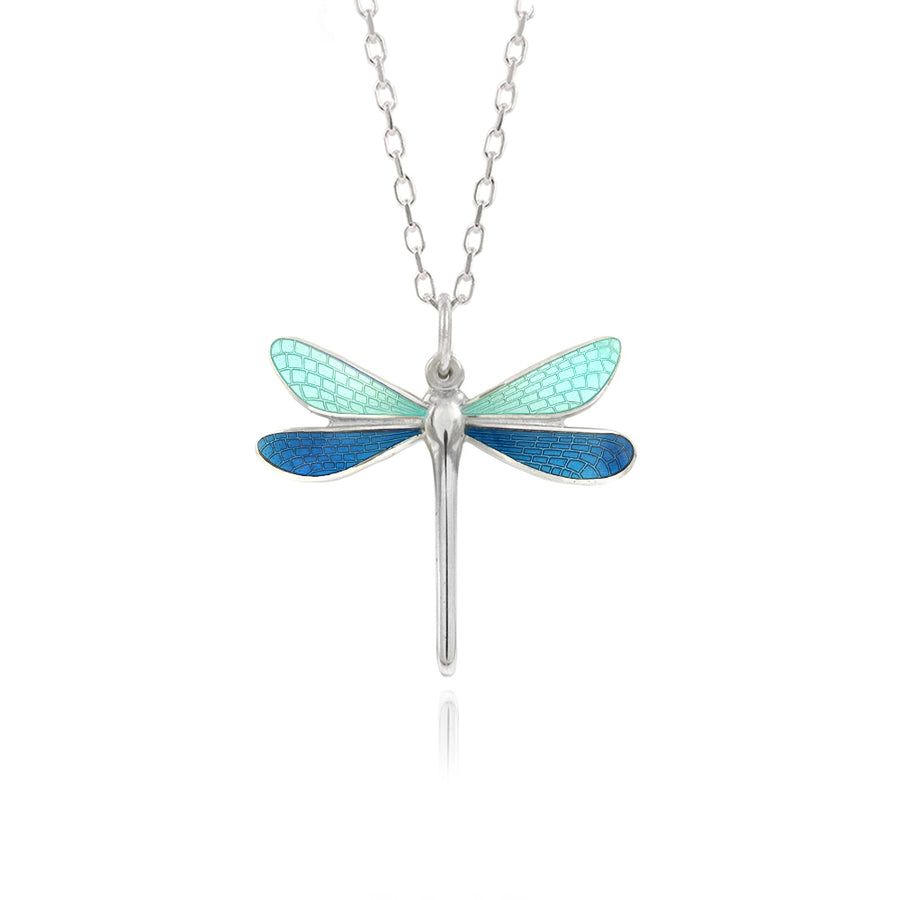 Dragonfly Mint & Kingfisher Enamel Pendant