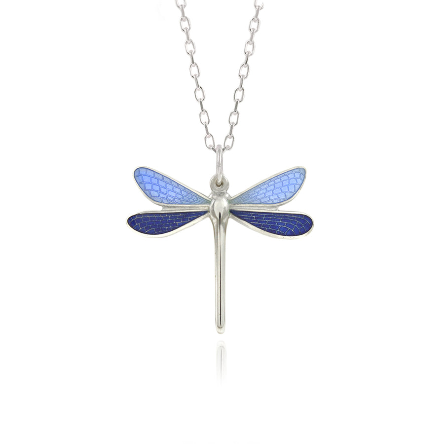 Dragonfly Pale Blue & Ink Enamel Pendant