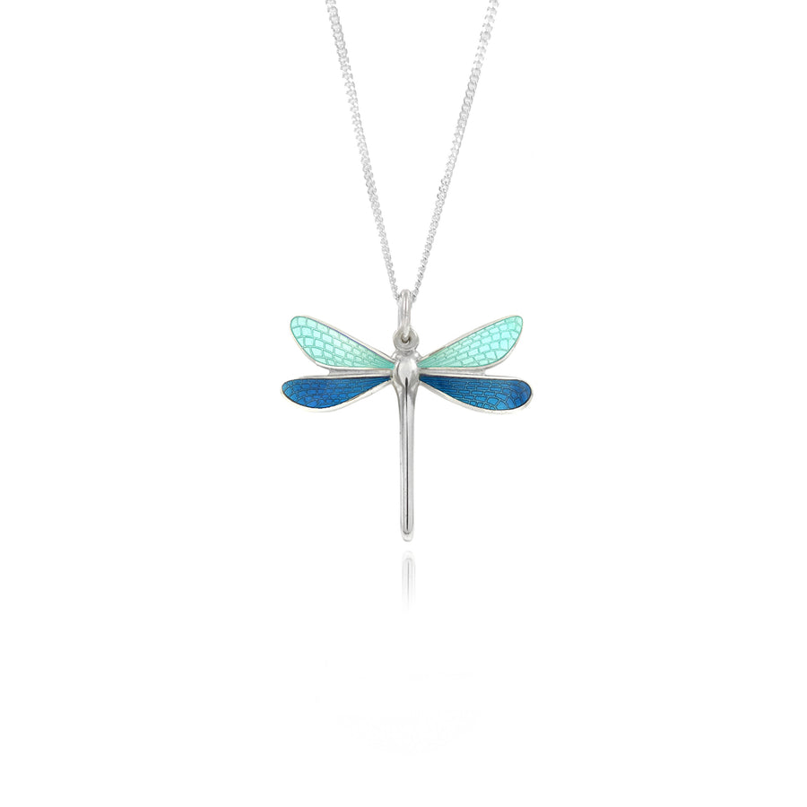 Dragonfly Mint & Kingfisher Small Enamel Pendant