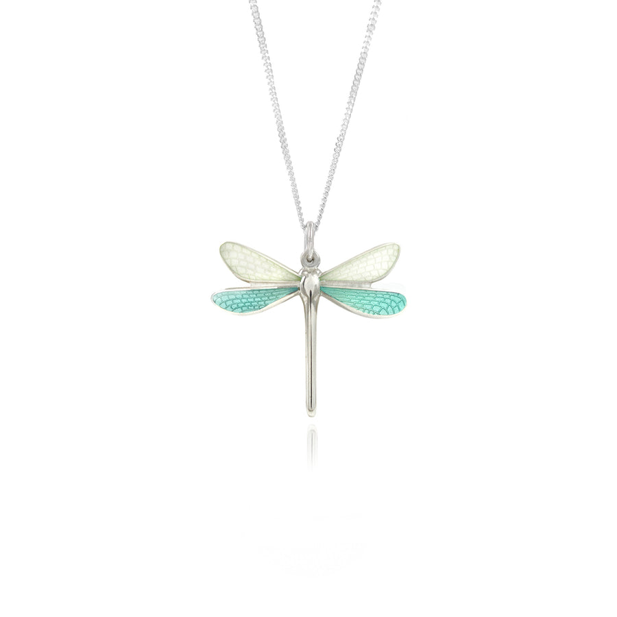 Dragonfly White & Mint Small Enamel Pendant