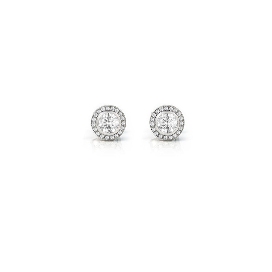 Diamond Halo Eclipse Platinum Earrings