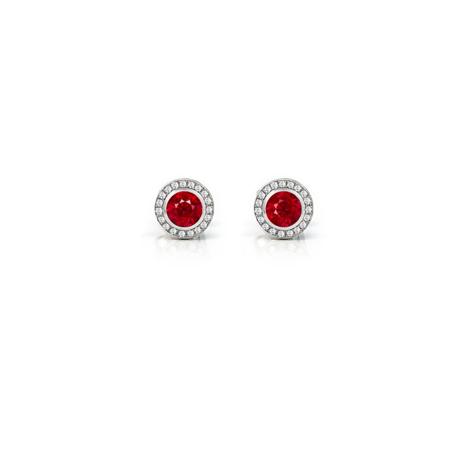 Ruby & Diamond Halo Eclipse Platinum Earrings