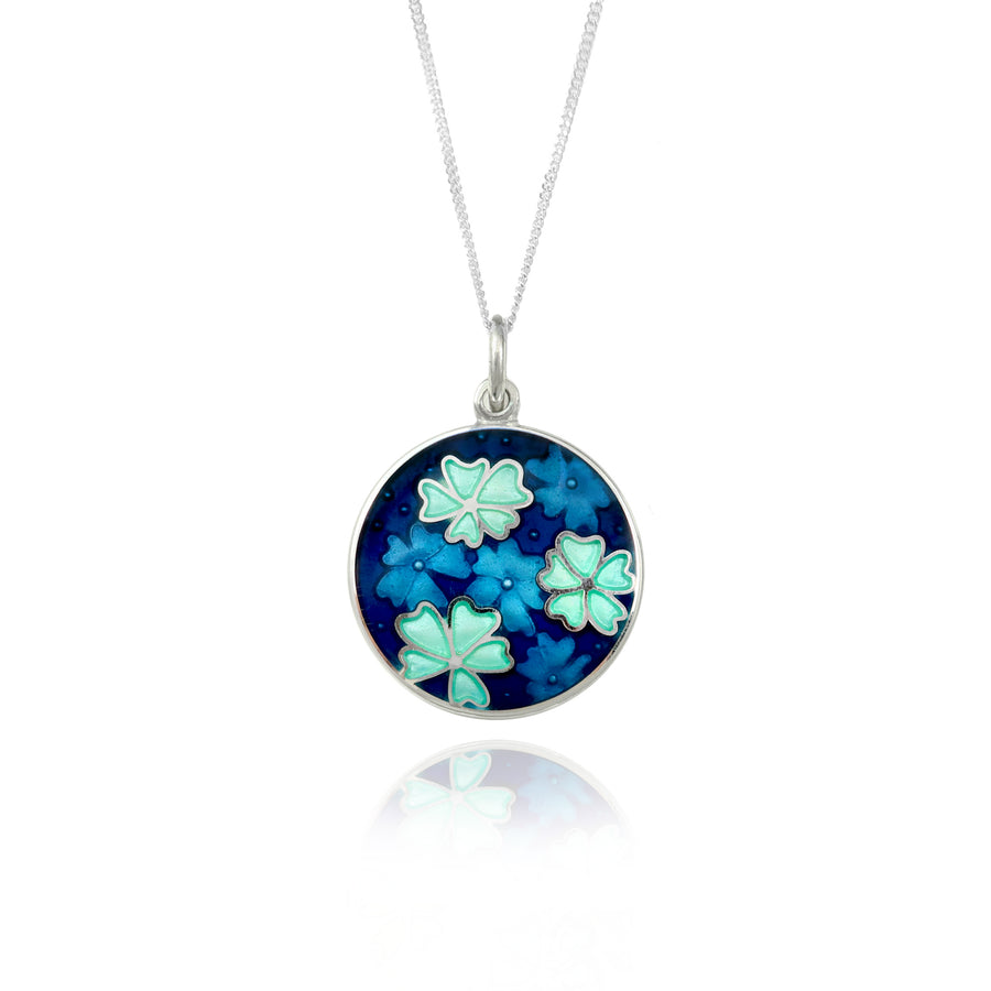 Forget Me Not Enamel Kingfisher Blue Pendant