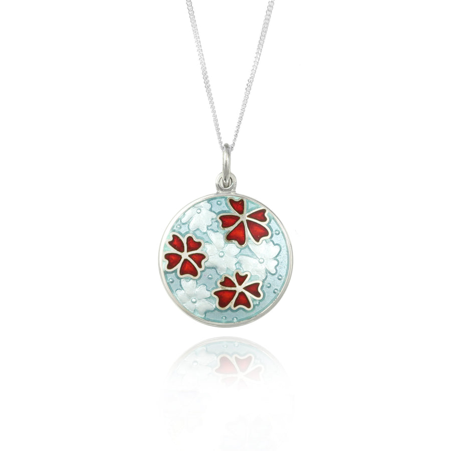 Forget Me Not Enamel Red Pendant