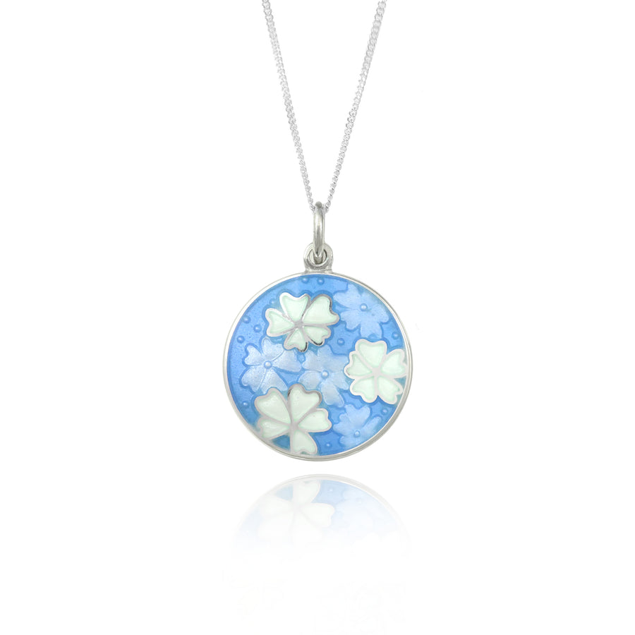 Forget Me Not Enamel Pale Blue Pendant