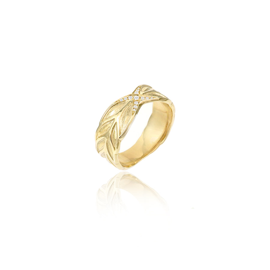 Diamond Wheat Sheaf Gold Ring