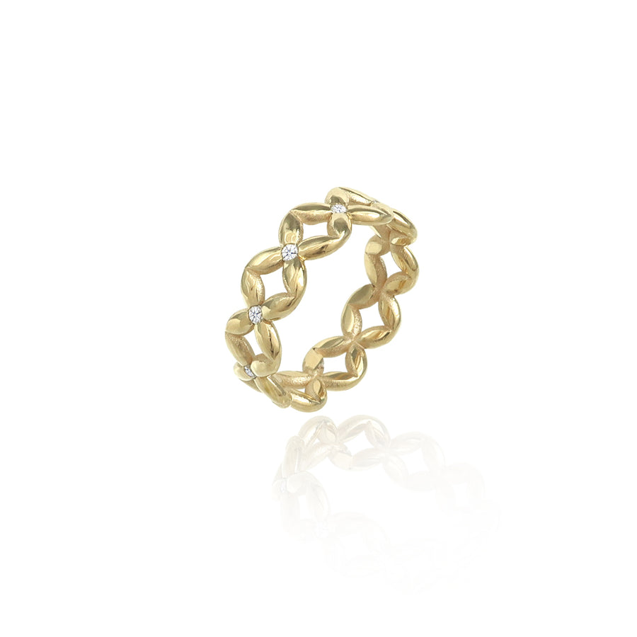 Diamond Hydrangea Gold Eternity Ring