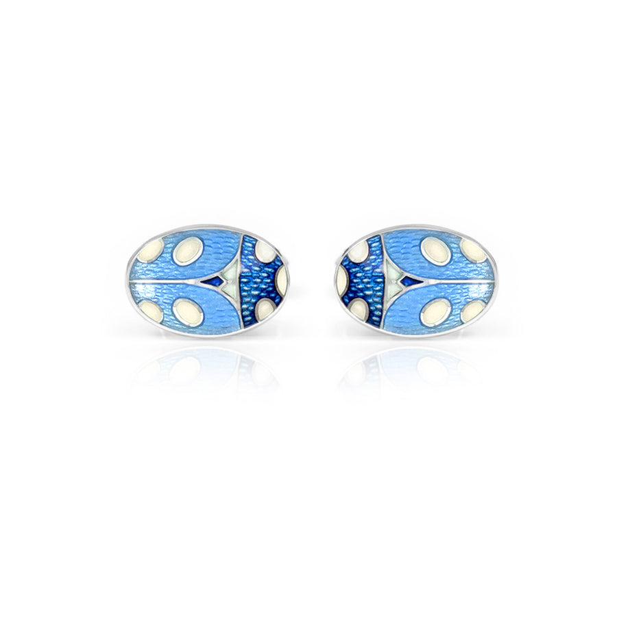 Ladybird Enamelled Blue Cufflinks