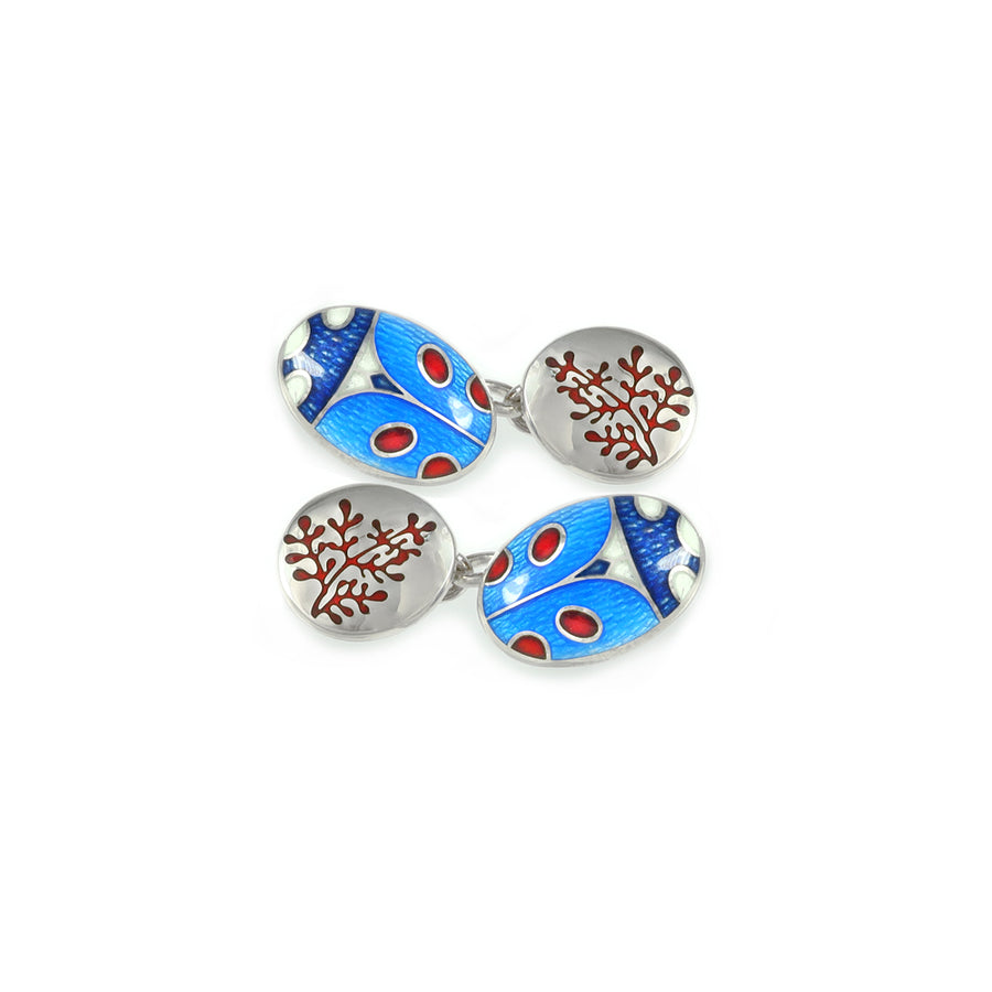 Ladybird & Rue Blue Enamelled Chain Cufflinks