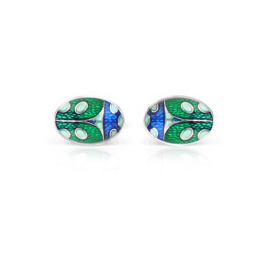 Ladybird Enamelled Green Cufflinks