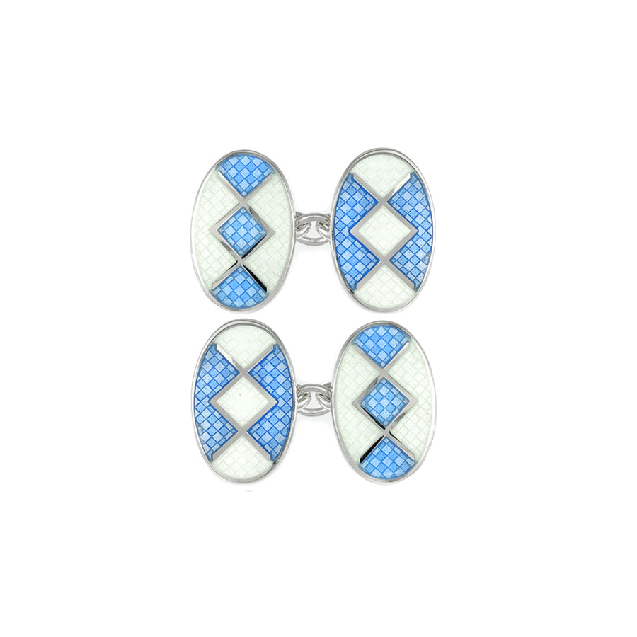 Enamelled Pale Blue Liberty Chain Cufflinks