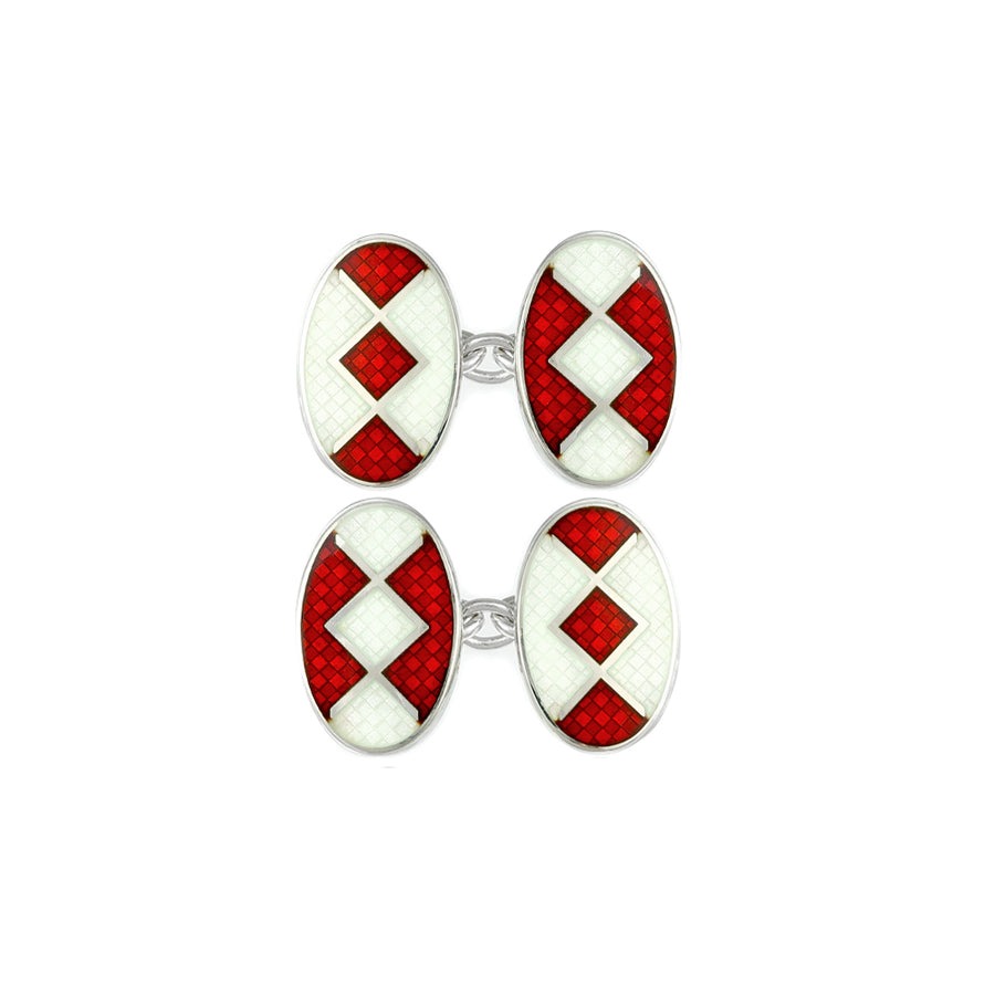 Enamelled Red Liberty Chain Cufflinks