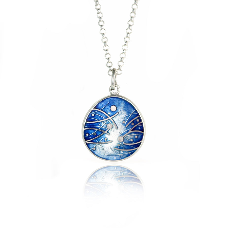 Meadow Enamelled Ink Blue Pendant