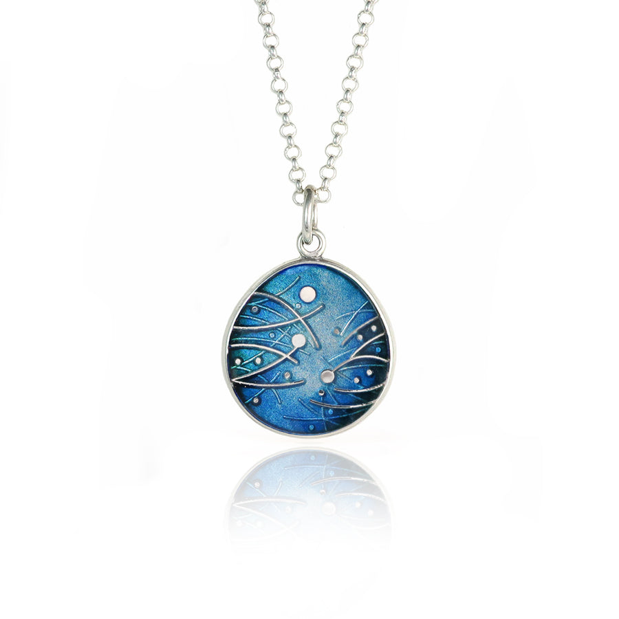Meadow Enamelled Blue Pendant